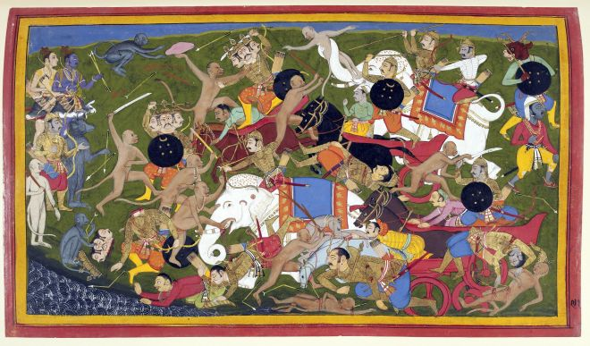 Battle_at_Lanka,_Ramayana,_Udaipur,_1649-53