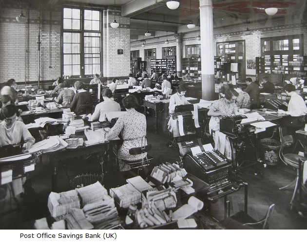 Blythe_House_preparing_totals_for_daily_balance_1930s